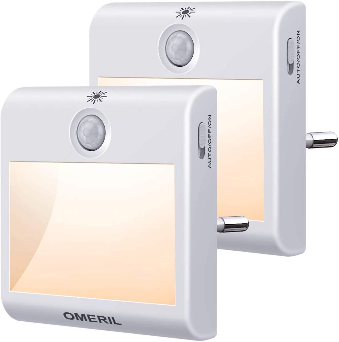 Pack dos luces nocturnas con sensor de movimiento y sensor de luz OMERIL