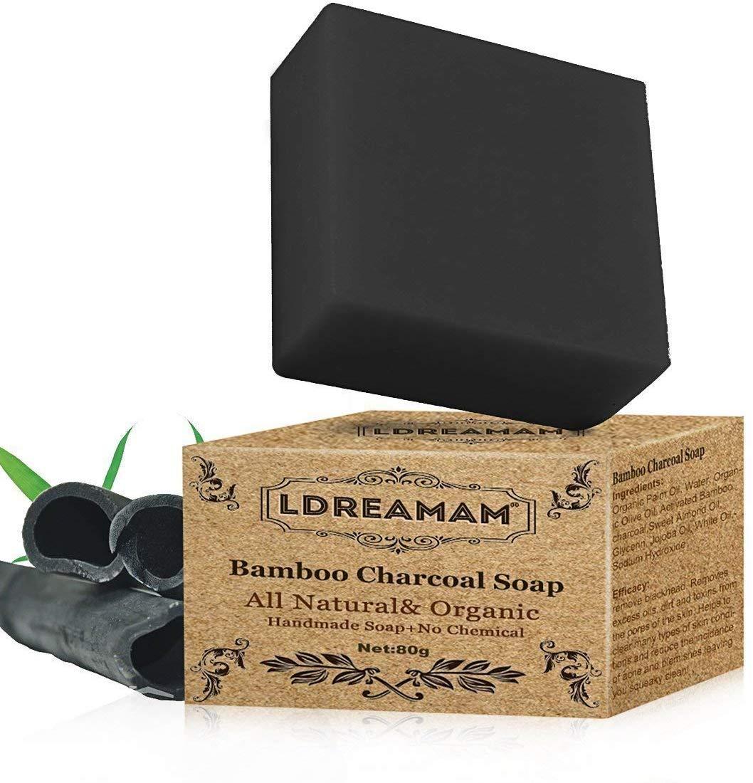 Lote 2 jabones hechos a mano de carbón de bambú negro LDREAMAM