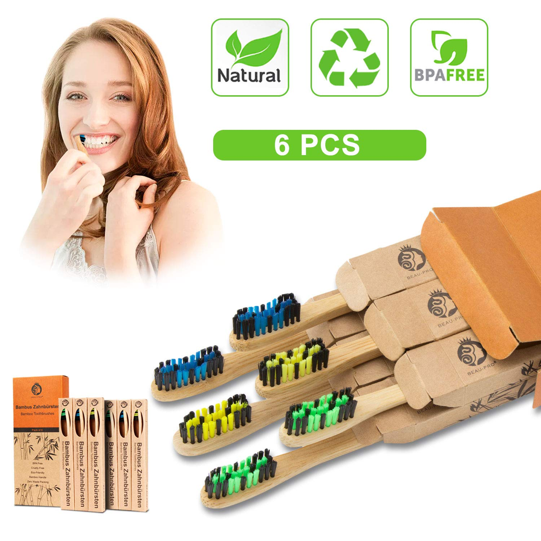Pack 6 cepillos de dientes de bambú
