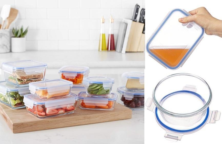 Set 10 recipientes de cristal para alimentos AmazonBasics, detalles