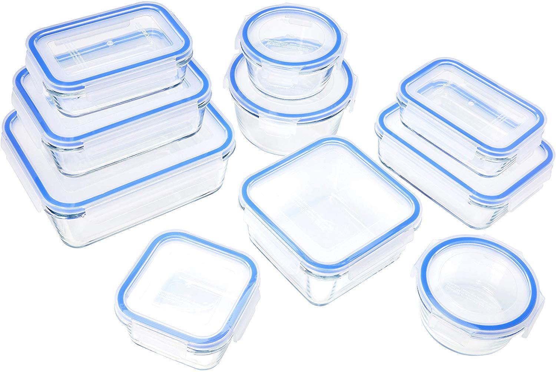 Set 10 recipientes de cristal para alimentos AmazonBasics