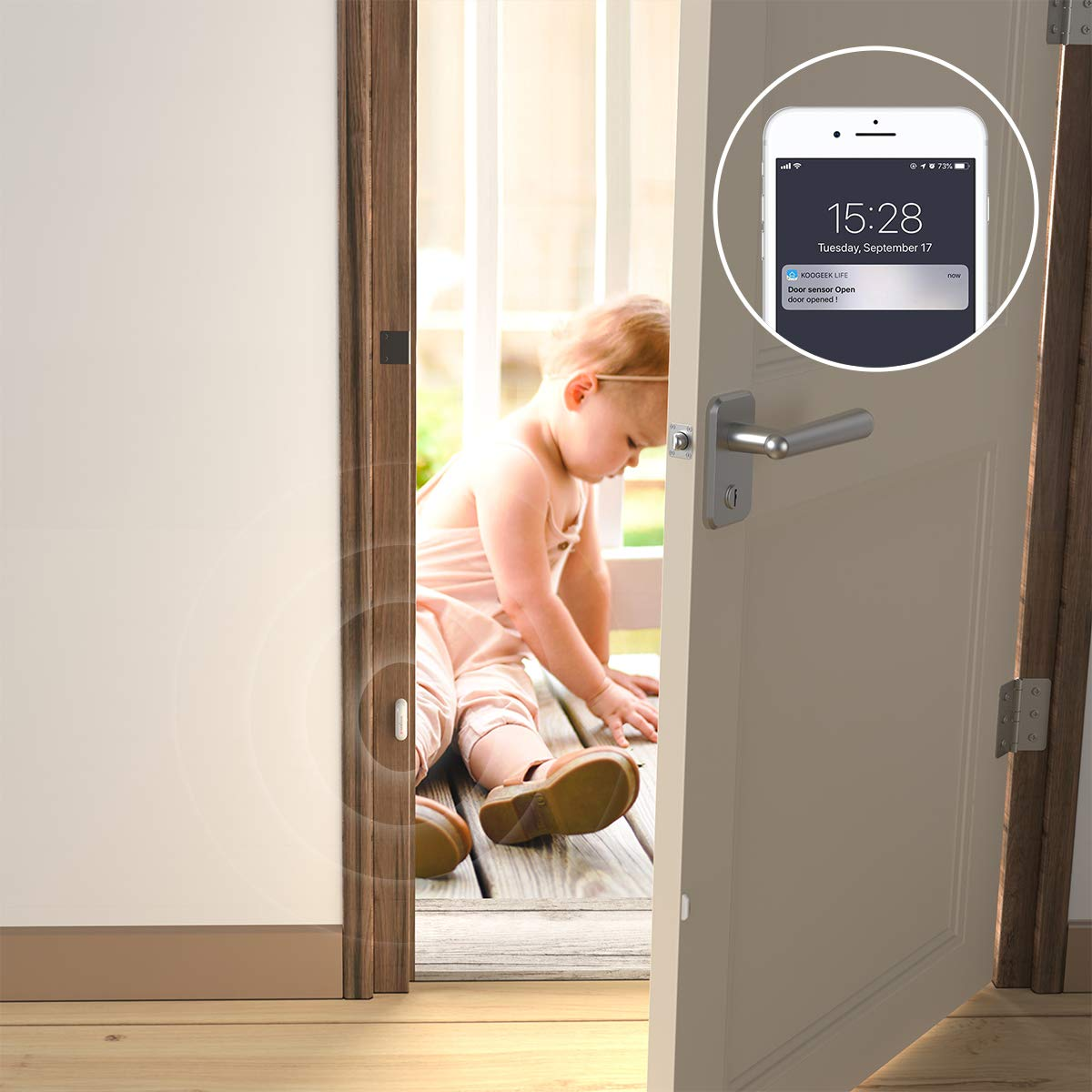 Sensor de puerta Koogee envía aviso al móvil