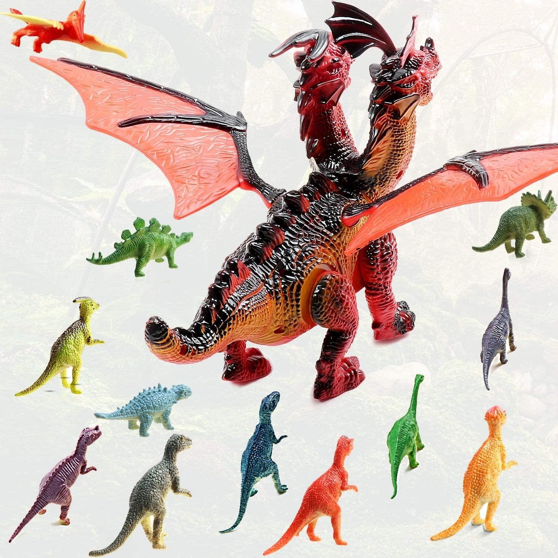 Dinosaurio con luz y sonido + pack 12 figuras de dinosaurio TTMOW por detras