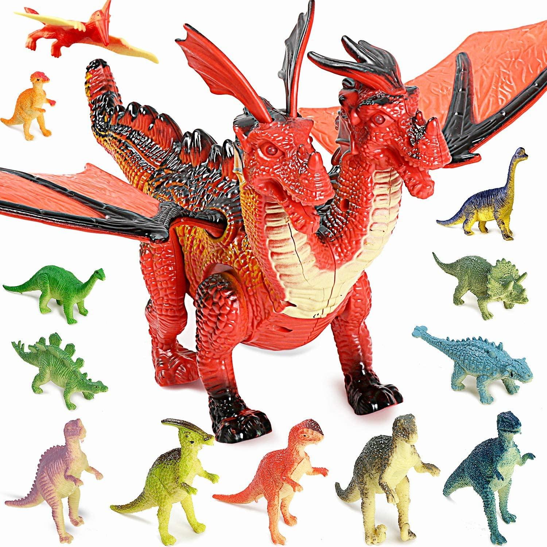 Dinosaurio con luz y sonido + pack 12 figuras de dinosaurio TTMOW