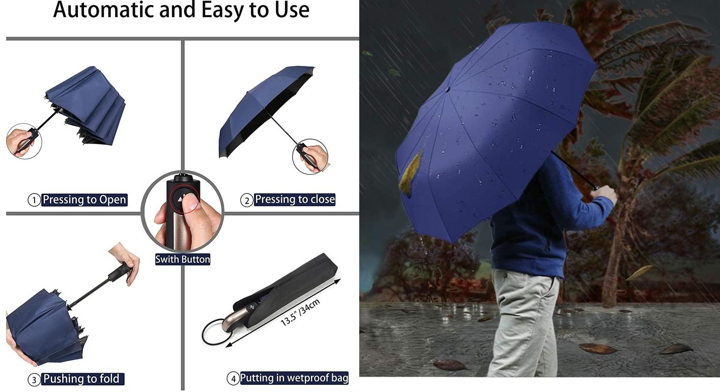 Paraguas plegable a prueba de viento BULLIANT detalles