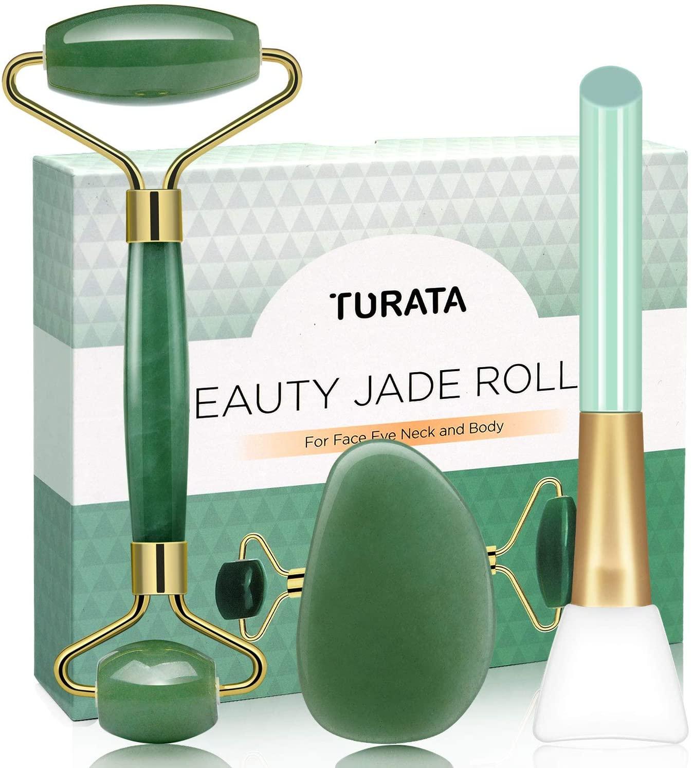 Rodillo de jade y piedra gua sha TURATA