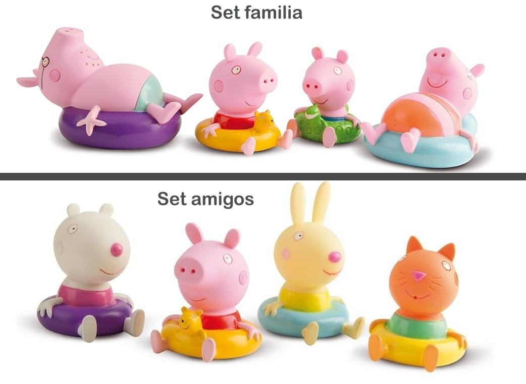 Set 4 figuritas para el baño Peppa Pig de IMC TOYS detalles