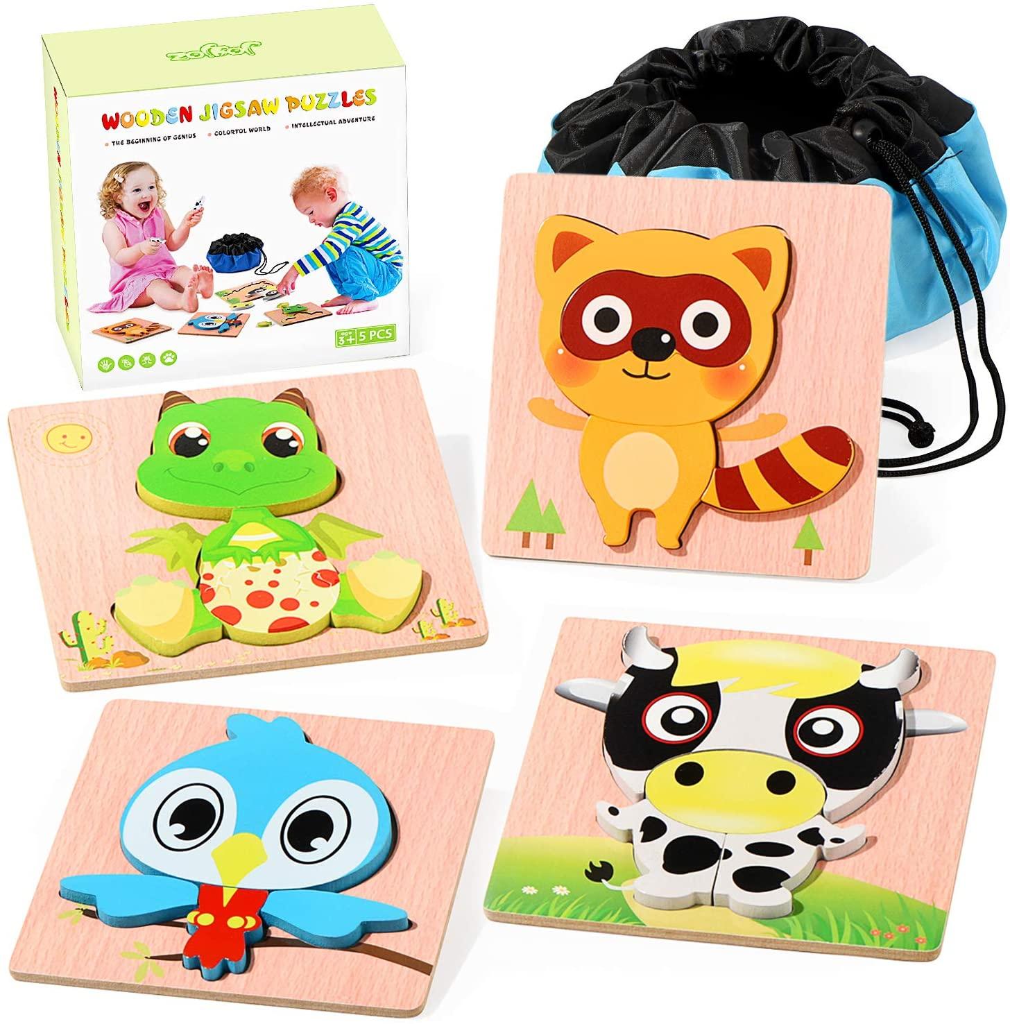 Set 4 puzzles infantiles de madera Joyjoz